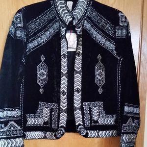 Raga Black Velvet & Silver Jacket Size XS NWT!